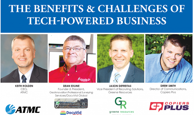 "Title ""The Benefits & Challenges of a Tech-Powered Business"" and pictures of the 4 technology panelists, along with their company logo."