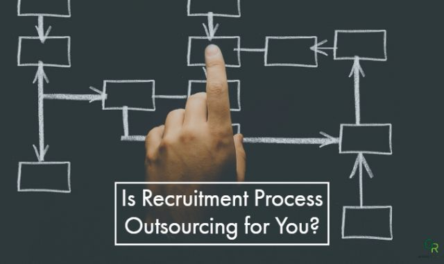 "boxes on an organization chart with a finger pointing to the middle box. Features words ""Is Recruitment Process Outsourcing for You?"""
