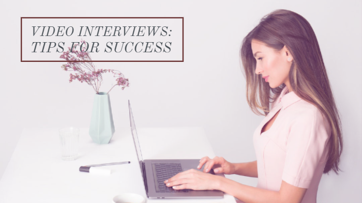 video interview tips. Woman interviewing on a computer.