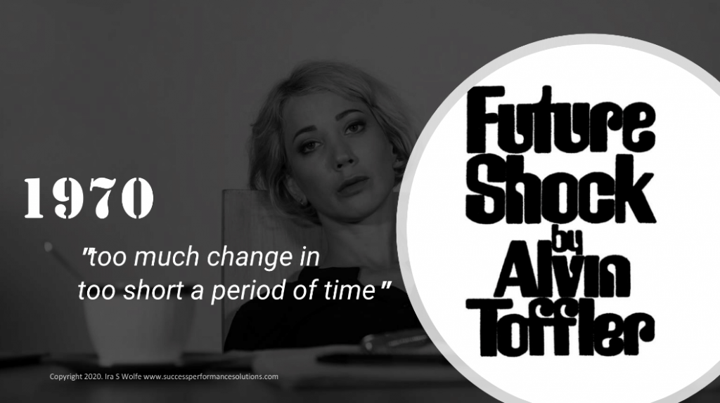 Future Shock Alvin Toffler - too much change in too short a period of time post-pandemic world returning to the workplace
