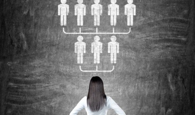 recruitment strategy planning woman looking at an employee organization chart