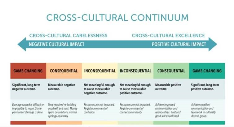 DEI Cross-Cultural Continuum: negative to positive impact, from inconsequential to game-changing in both directions