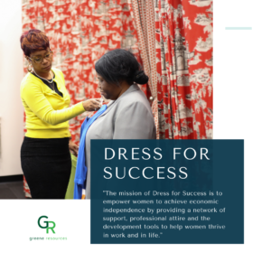 Vision Statement of Dress for Success non-profit two women wearing business clothes