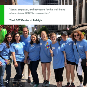 Greene Team members volunteering at Out! an event hosted by the LGBT Center of Raleigh